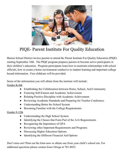 Burton School District invites parents to attend the Parent Institute For Quality Education (PIQE)
