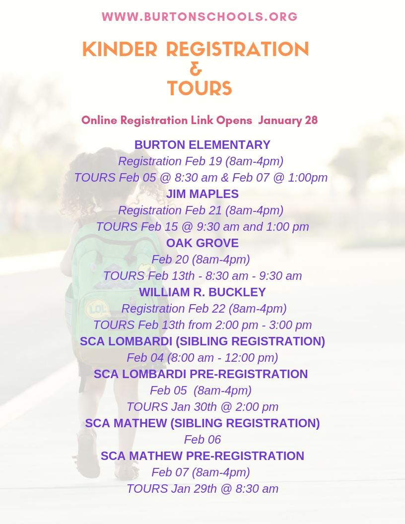 Kinder Registration & Tour Dates